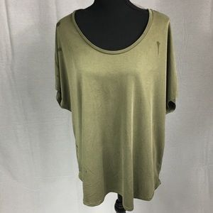 Massimo size 1X olive green short sleeved top soft